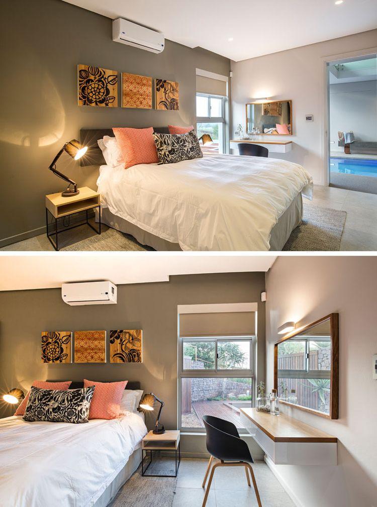 Kleines Schlafzimmer mit Deko-Bildern über das Bett Wohnideen - schlafzimmer bett modern