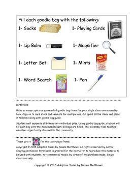 Free Nursing Home Volunteer Assembly Task Nursing Home Life Skills Activities Nurse