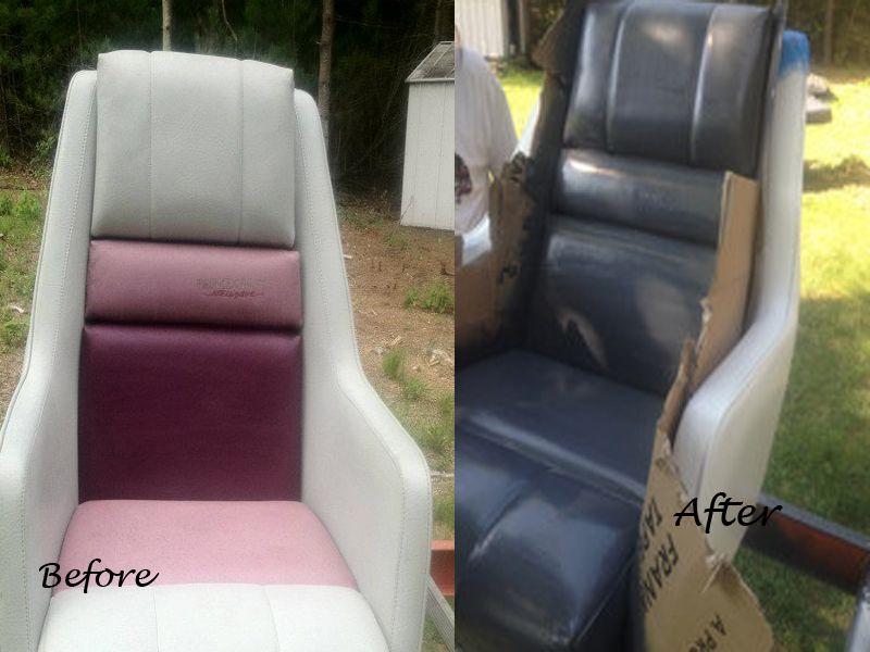 Fix faded boat interior with Marine Vinyl Spray. http://www.professionaldye