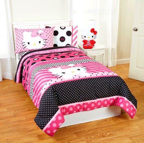 4pc Girl Pink Black Hello Kitty Polka Dot Twin Comforter U0026 Sheet Set (4pc  Bed