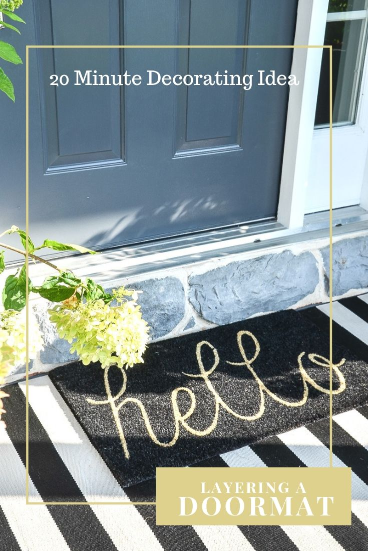 Dress up your front door by layering a cute indoor/outdoor rug with a doormat with a fun saying or seasonal design. Lots of ideas and front door inspiration! Best fall doormats and rugs with links included. #frontdoor #fall #fallfrontdoor #falldecoratingideas #falldecoratinginspiration #autumn #homedecor #homedecorinspiration #decorating #porch #frontporch #fallfrontporch #stonegable