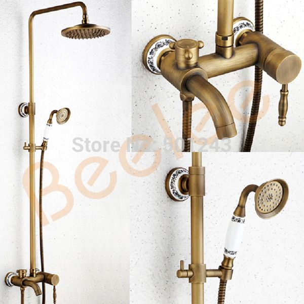 Click to Buy << Wall Mounted Brass Bathroom Shower Faucet Rainfall ...