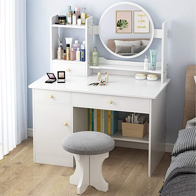 Amazon Com Modern Vanity Table Set Makeup Dressing Table With Round Mirror 3 Drawers And 1 Door St Modern Vanity Table Bedroom Vanity Table Bedroom Vanity