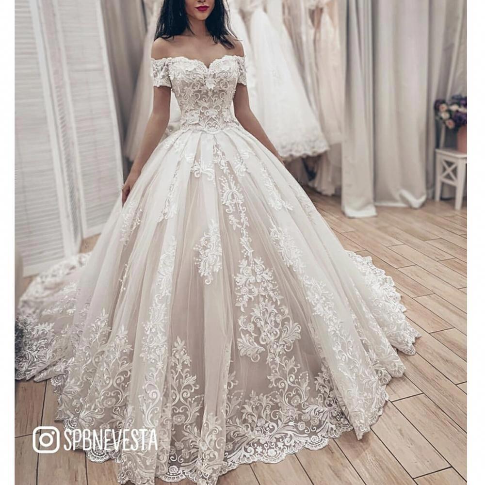 Ball Gown Wedding Dresses 2019 Off The Shoulder Lace Appliques Puffy Court Train Bri Lace Princess Wedding Dresses Ball Gowns Wedding Beautiful Wedding Dresses [ 1000 x 1000 Pixel ]
