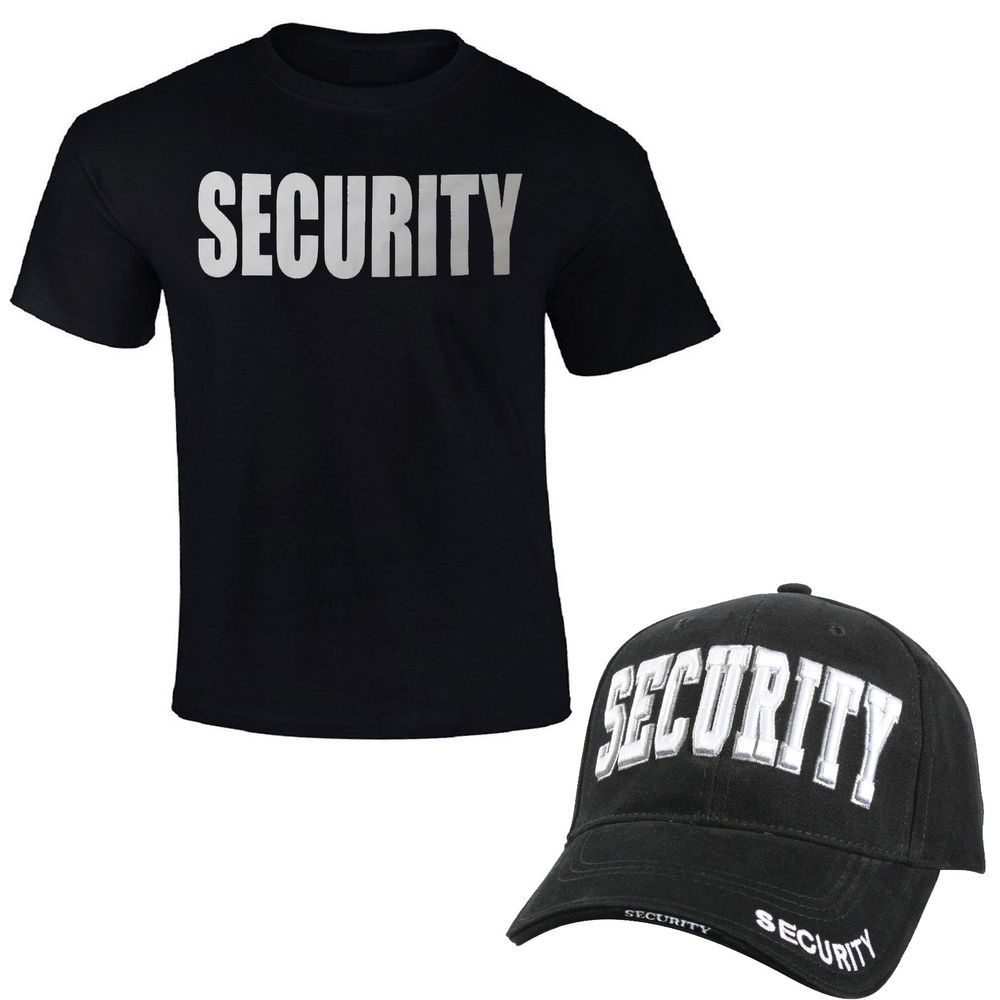 SECURITY T-Shirt   Cap Black 2 Sided Print Unisex Tee Hat uniform guard  officer  ArmyUniverse 7640644a65a