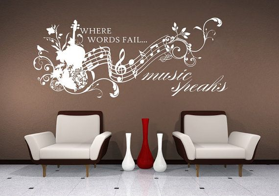 Wall Decals Music Speaks Collage Vinyl Lettering Text Wall Words