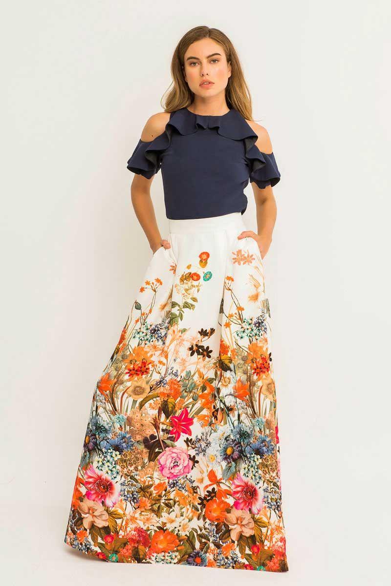 Maxi falda fluida de flores con bolsillos a8a5306aac29