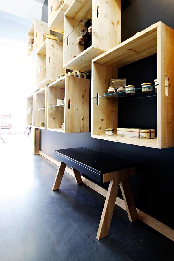 Idea intégration design et architecture café du marché merchandising wood interior design