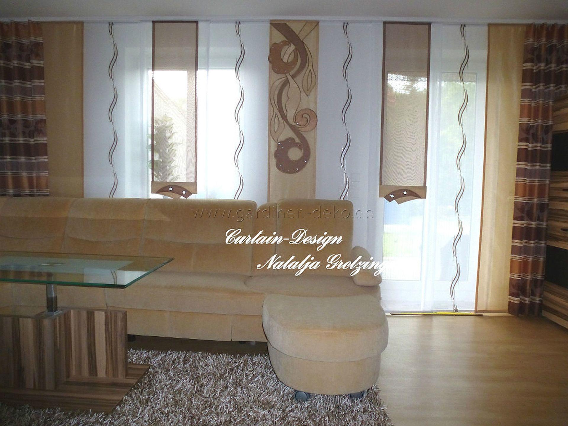 beige brauner schiebevorhang f rs wohnzimmer. Black Bedroom Furniture Sets. Home Design Ideas