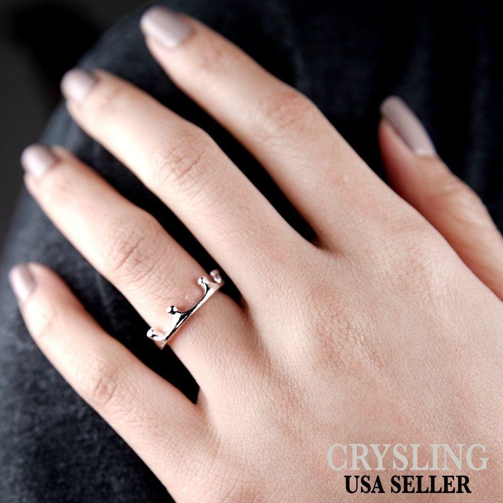 Fashion Royal Princess Ring Women Silver Crown Ring Size 4 USA ...