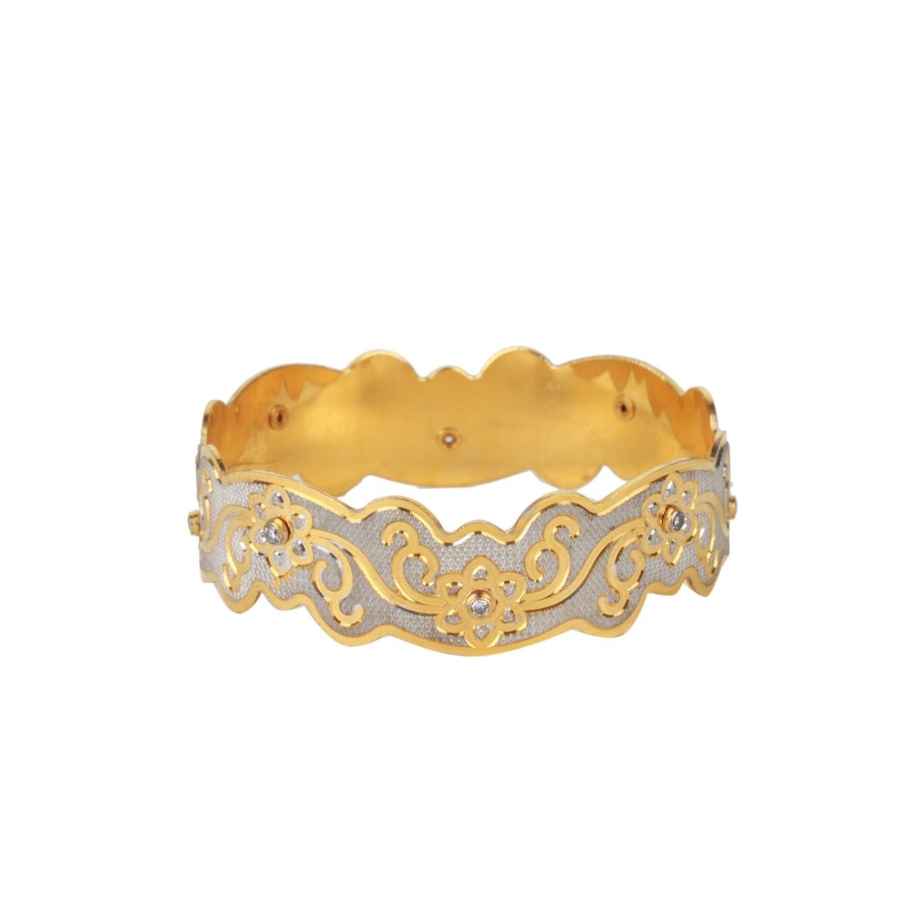Dilan jewels knowledge collection silver u golden floral kada for