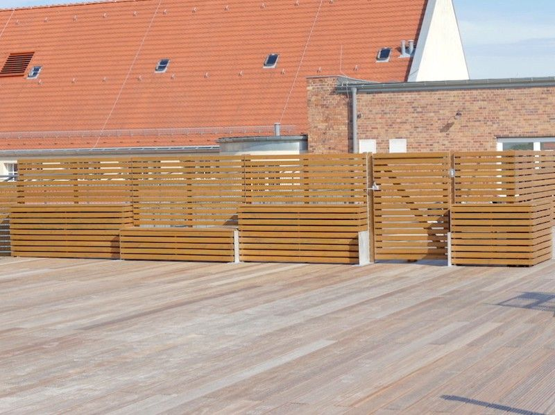 pflanzkasten mit sichtschutz ecke aus heimischem holz douglasie f r dachterrasse terrasse g. Black Bedroom Furniture Sets. Home Design Ideas