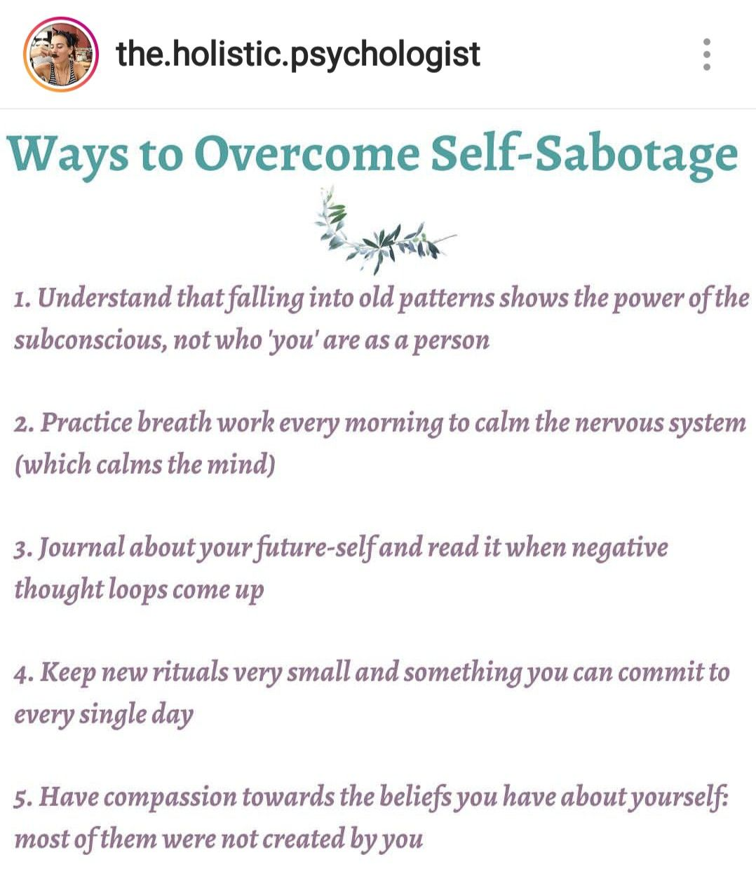 Overcoming Self Sabotage