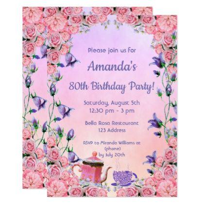 80th Birthday Tea Party Invitation Pink Violet