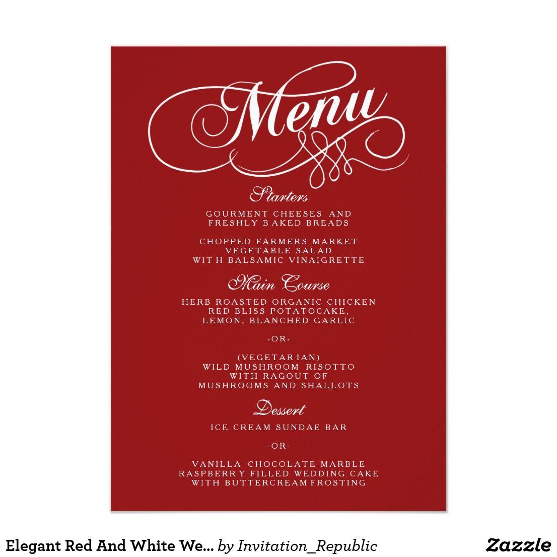 Elegant Red And White Wedding Menu Templates   Wedding menu template ...