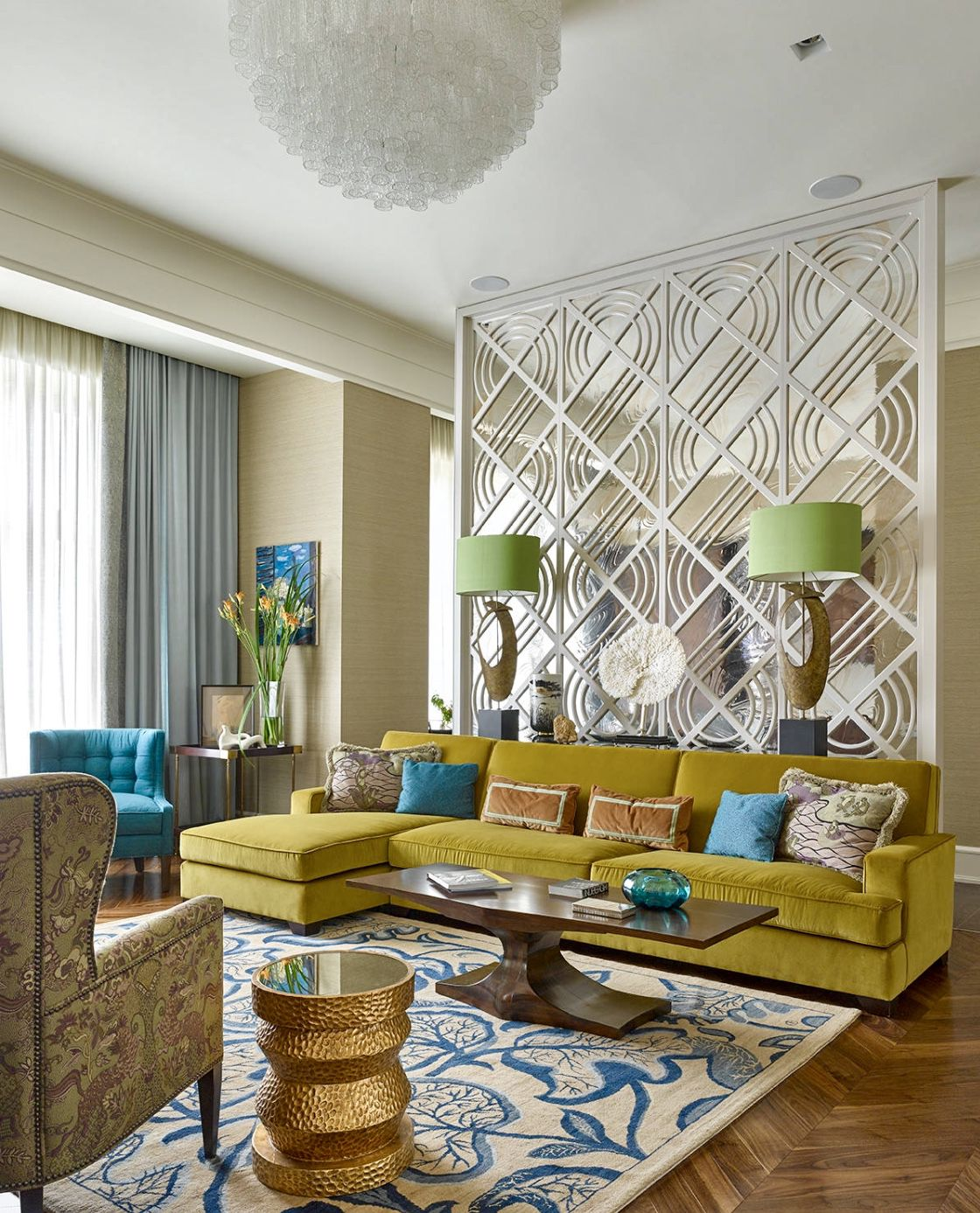 eclectic colorful living room with yellow velvet sr tional