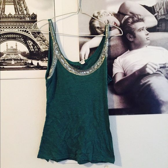 Teal Embellished Neckline Tank Top Preloved. Great condition. Beautiful blue green teal color. Embellished neckline with silver sequins and beading. Stretchy material. True to size. Organic cotton. Purchased at Nordstrom. Threads 4 Thought  Tops Tank Tops