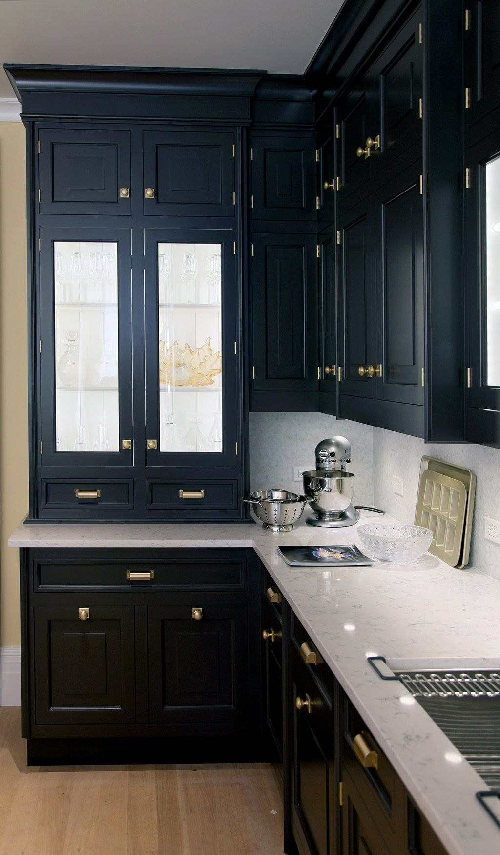Similar to other styles but would change the upper cabinets white  love gold hardware on dark also pin by jessica wolke wiener bar remodel pinterest glass rh