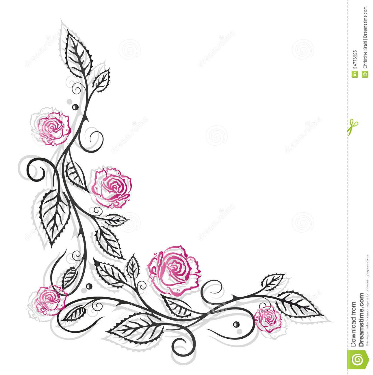 Rose Flower Border Black And White Google Search Flower Vine Tattoos Rose Vine Tattoos Vintage Borders