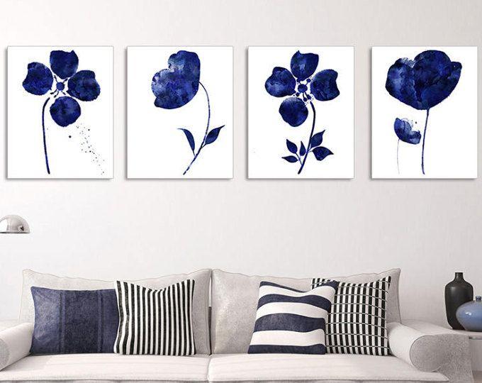 4 piece wall art navy blue floral print floral wall art set abstract