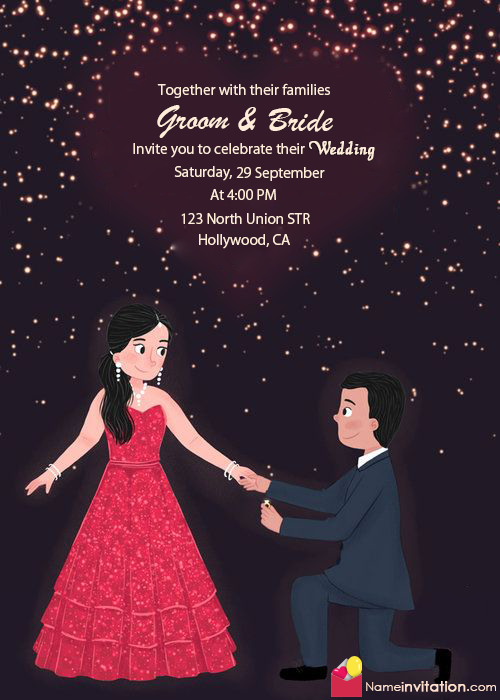 Online Marriage Invitation Card With Name Edit Marriage Invitation Card Indian Wedding Invitation Card Design Illustrated Wedding Invitations