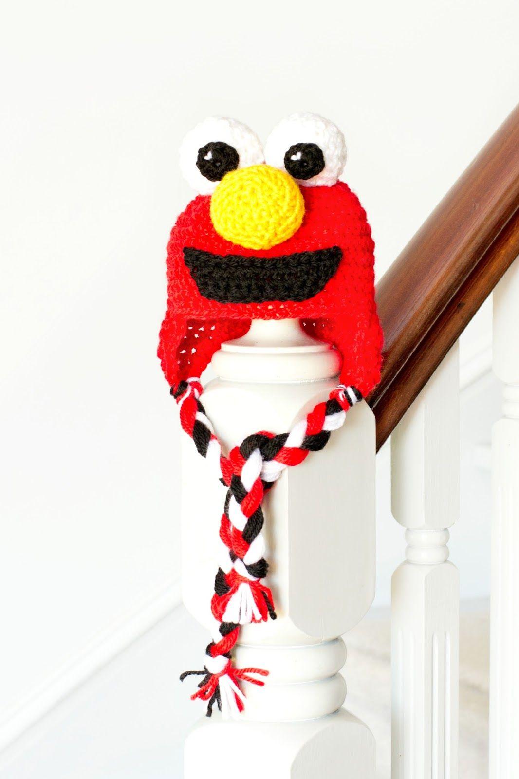 Sesame Street Elmo Inspired Baby Hat Crochet Pattern | Gorros ...