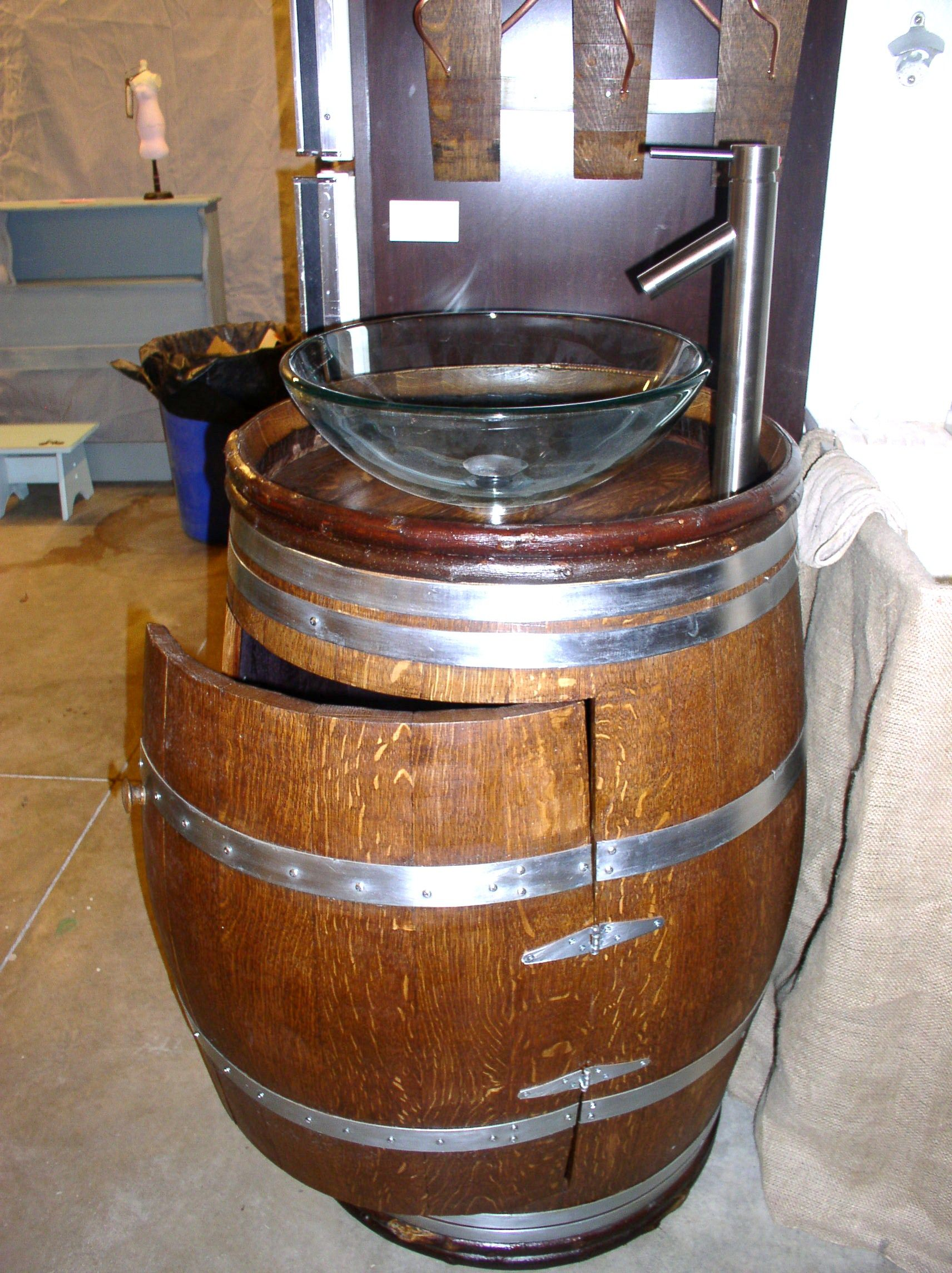 Whiskey barrels sink vanity with storage side view to see hinges and how they cut it