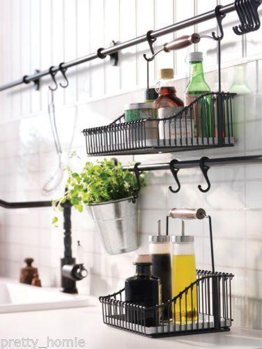 Ikea Wire Basket With Handle Black Kitchen Organiser Storage Spice Holder Canasta De Alambre Mejoras En El Hogar Cocinas
