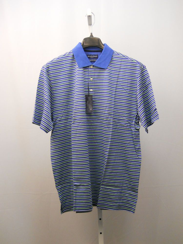 Austin Reed Double Mercerized 2ply Cotton Men S Polo Shirt Size L Striped Blue Golf Shirts Men Sweater Sweater Shirt