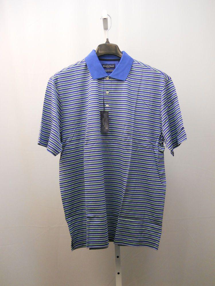 Austin Reed Double Mercerized 2ply Cotton Men S Polo Shirt Size L Striped Blue Golf Shirts Men Sweater Sweater Shirt