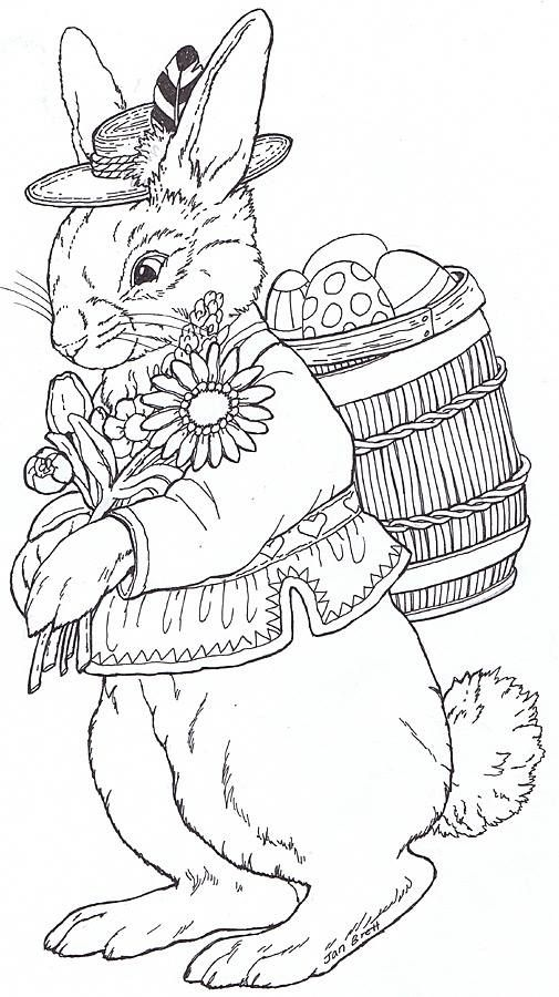 rudi bunny by jan brett i like these realistic easter bunnies there are a bunch more on the jan brett page - Jan Brett Easter Coloring Pages