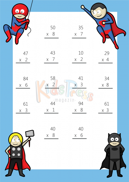 Multiplying 2 Digits by 1 Digit #1 | Math multiplication worksheets ...