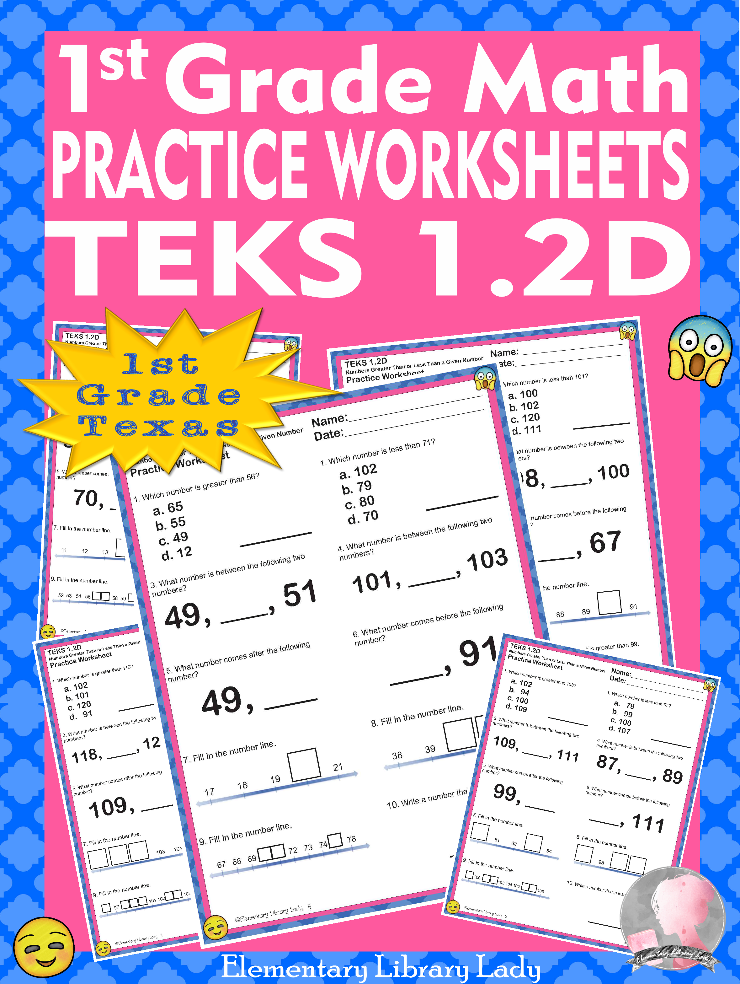 Math TEKS 1.2D Worksheets Texas 1st Grade Greater Than