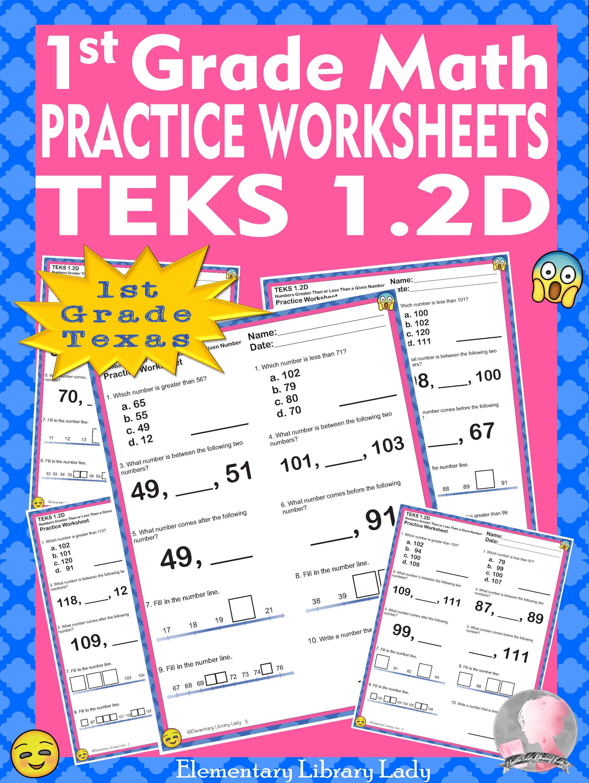 Math Teks 1 2d Worksheets Texas 1st Grade Greater Than
