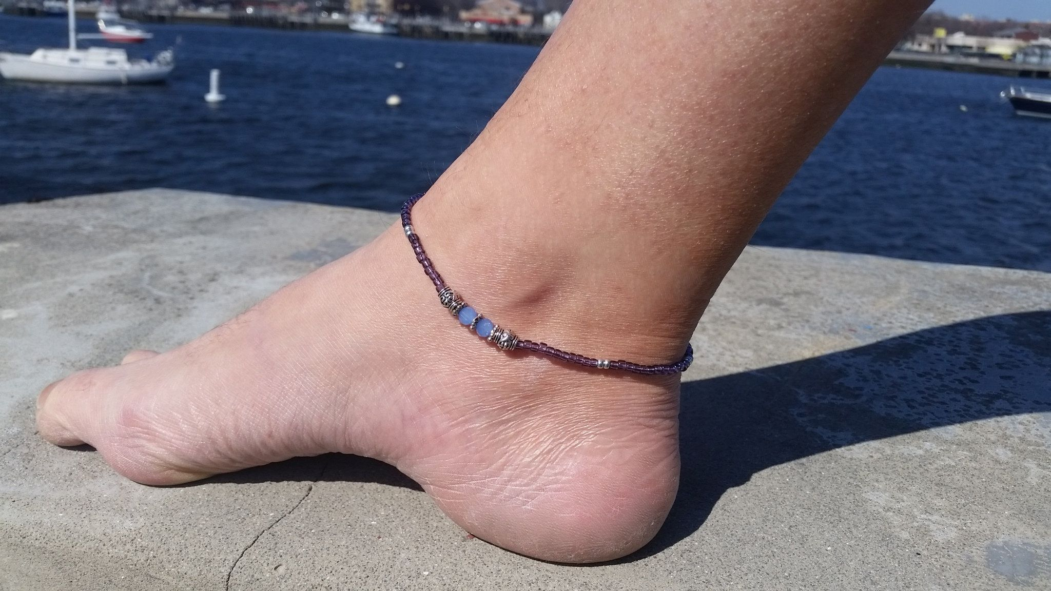 beach waxed boho her chic anklets market il everyday etsy cord anklet for pearl