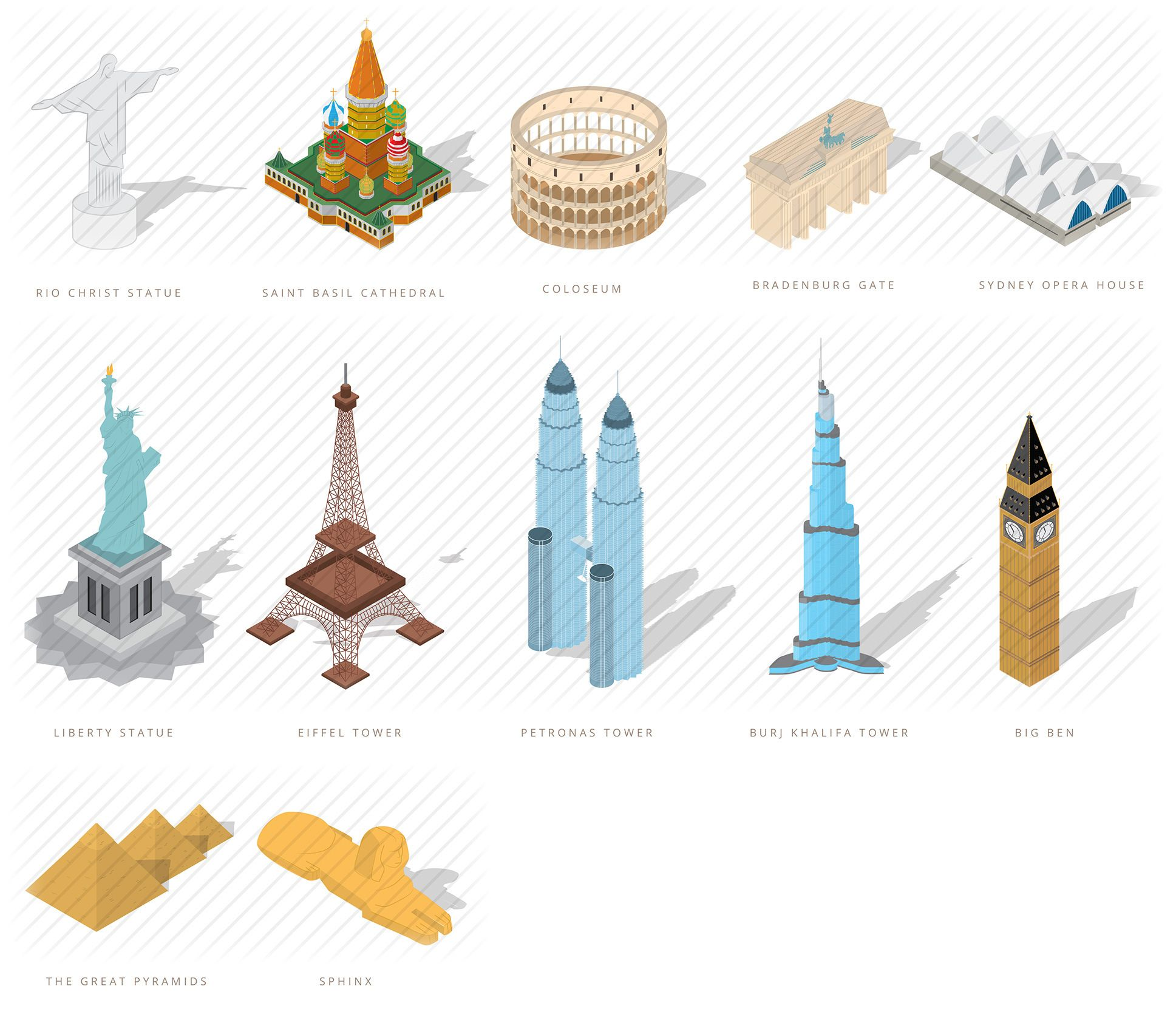 adorable isometric vector elements for map design isometric world monuments