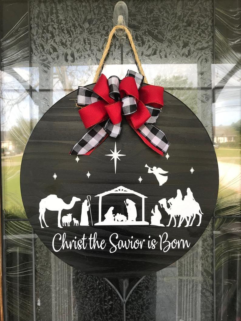 Christmas Door Hanger, Christmas Wreath, Christ th