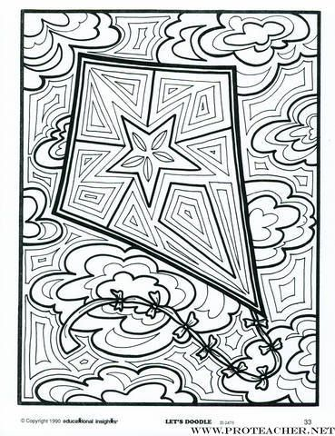Kite Coloring Pages Doodle Coloring Coloring Books