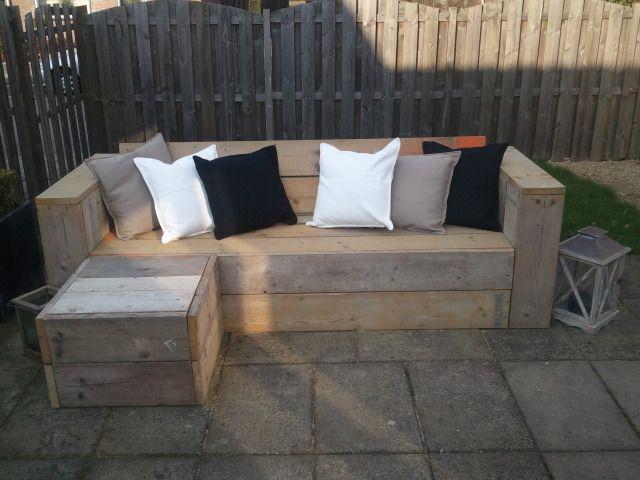 Loungebank steigerhout garden pinterest pallets for Loungebank steigerhout