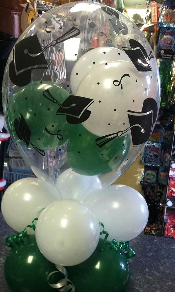 Graduation centerpiece Ideas!! Green & White | Graduation ...
