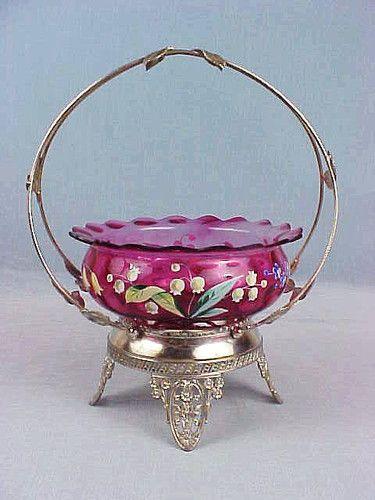 C1890 phoenix hobbs cranberry bride 39 s bowl w fancy tufts for Phoenix glass decorating co