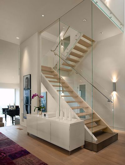 Contemporary Staircase By Lori Smyth Design Stairs Design | Stairs In Middle Of Room Interior Design | 3 Story Staircase | House | Middle Hallway | Private Home | Mixed Interior