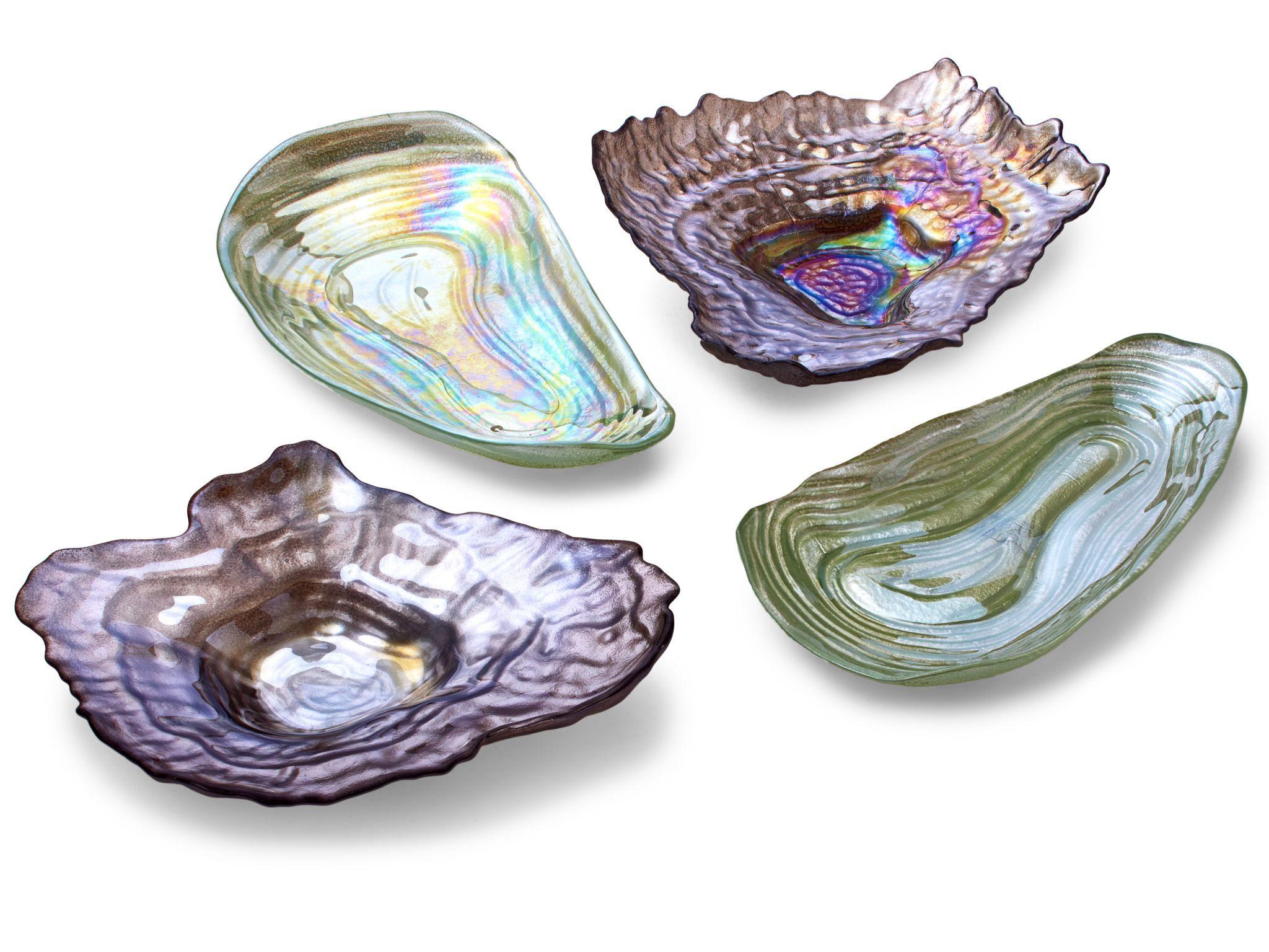 Sea Glass Lustrous Shell Plate Set, $83 : Twos Company; burkedecor.com