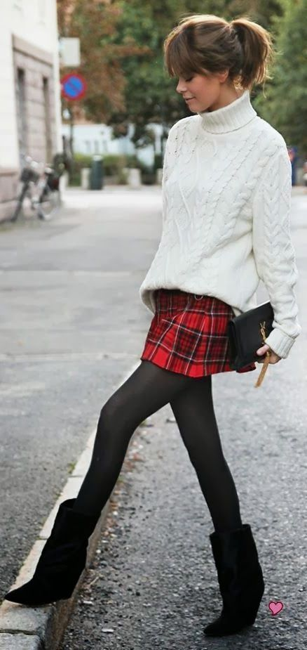 7f385d2934 Warm outfit fashion with tartan skirt, black tights and cable knit sweater.