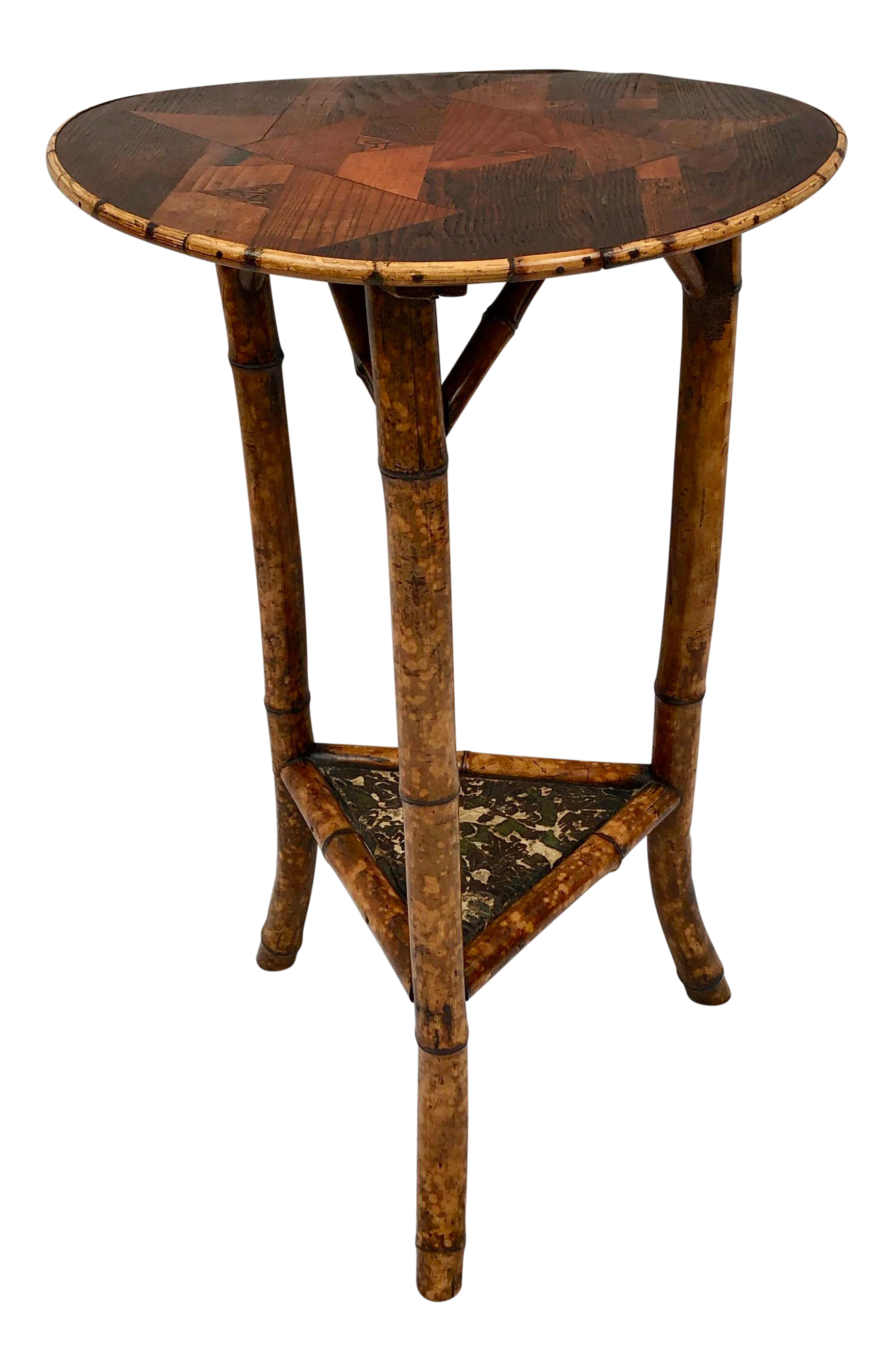 Astounding 1970S Asian Round Tortoiseshell Bamboo Accent Table With Download Free Architecture Designs Scobabritishbridgeorg