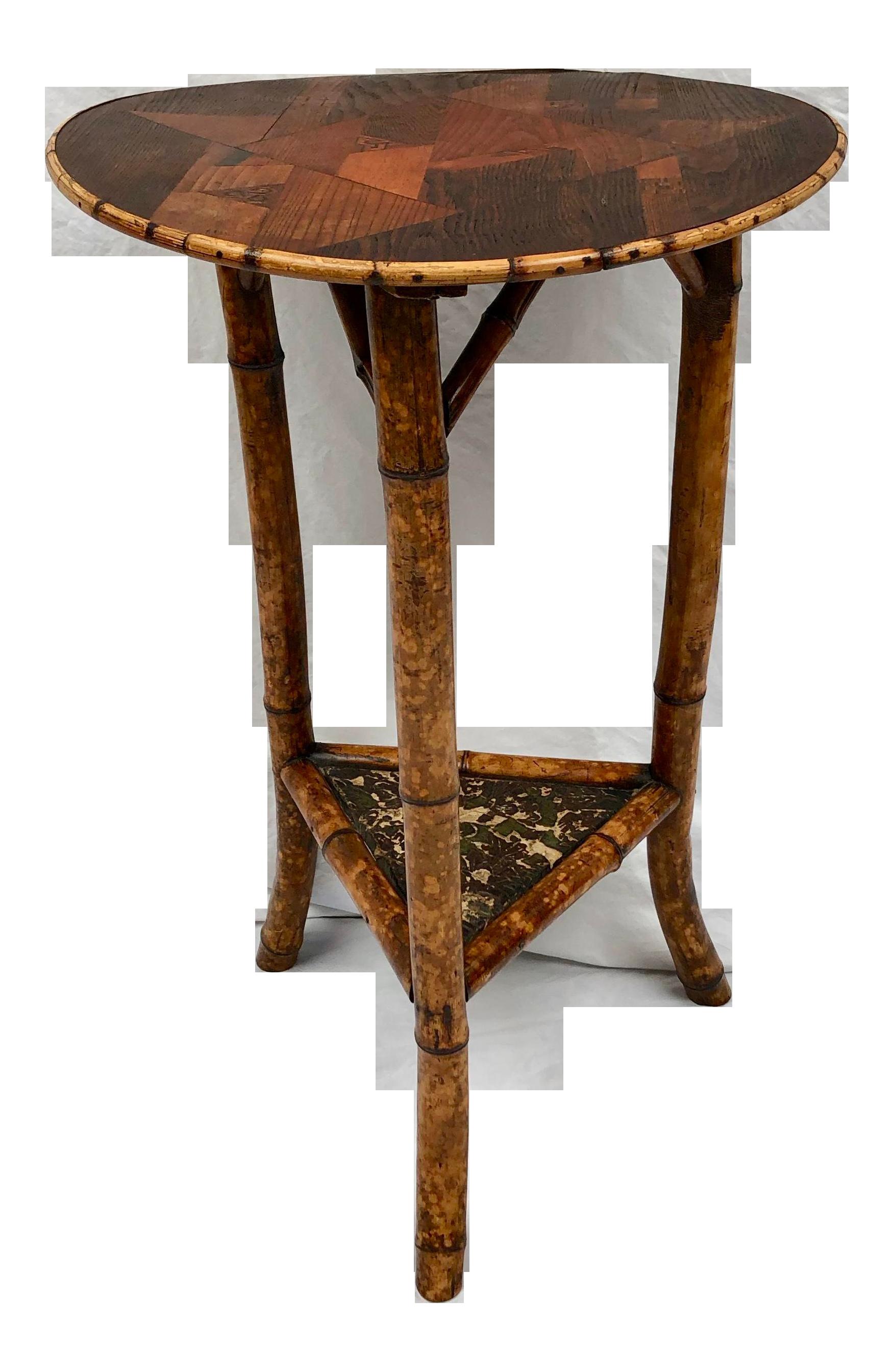 1970s Asian Round Tortoiseshell Bamboo Accent Table With Inlaid Wood Top Accent Table Table Bamboo