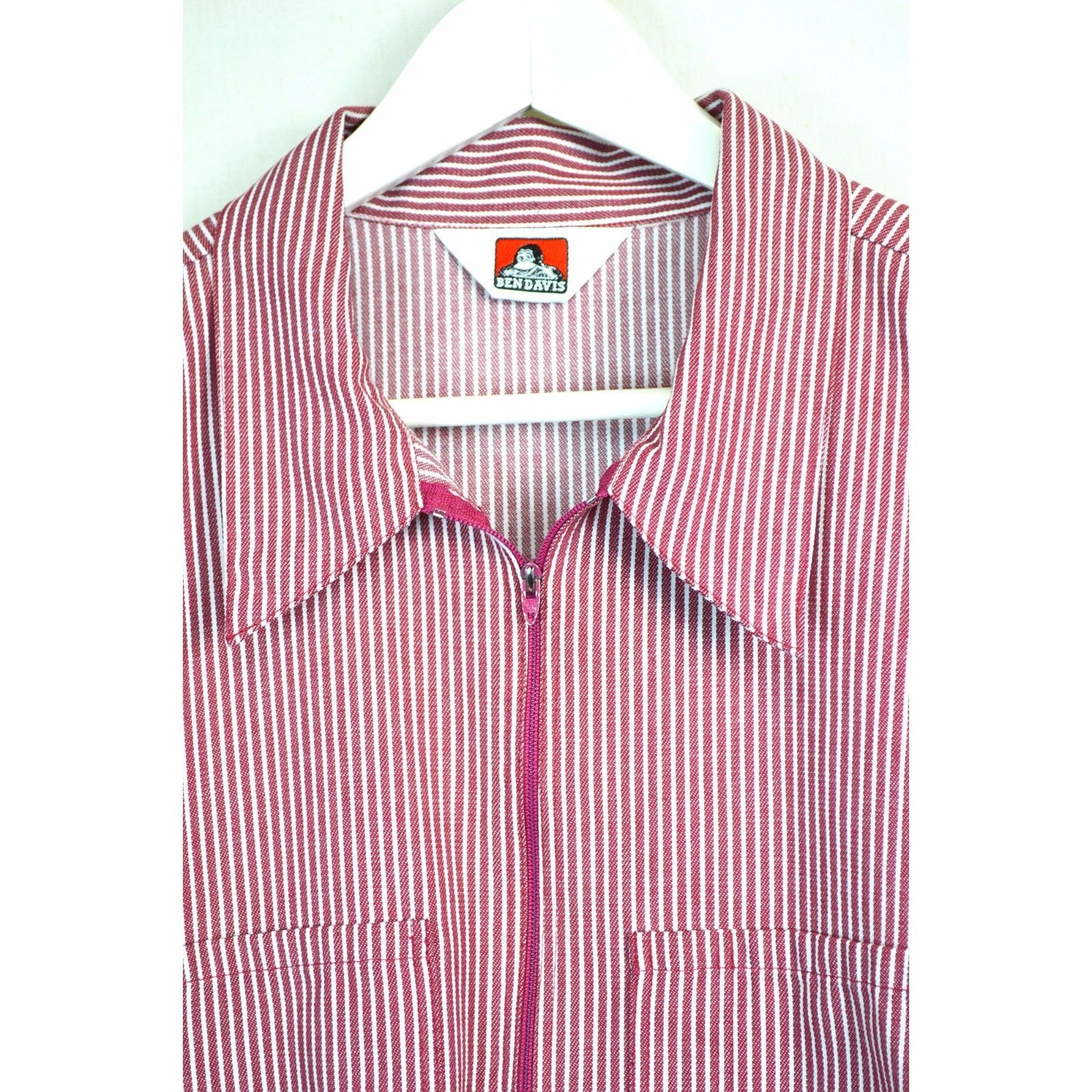 6f74f6e7ed BEN DAVIS Size XXXL 3X SHIRT Short Sleeve 1/4'' Zip Red White Stripe  Pullover