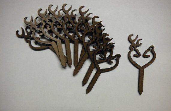 Cup Cake Topper's .. Set of 10 Browning Deer Heart by Raeswood
