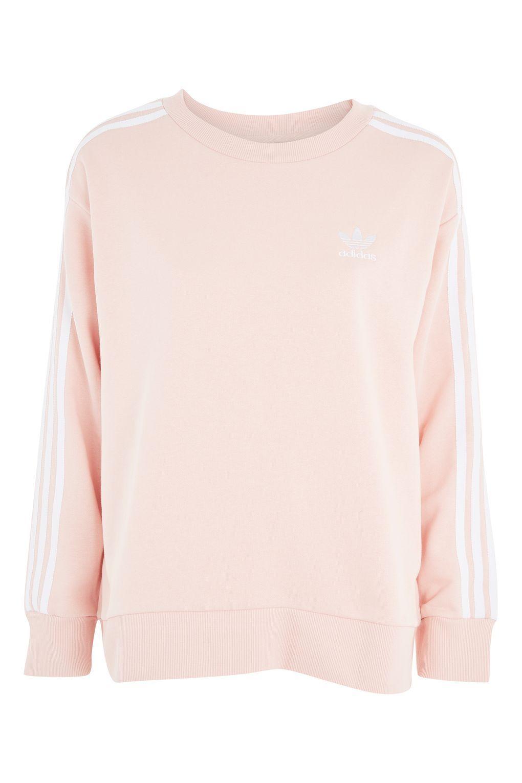 Original 3 stripe cotton sweatshirt with logo , pink, Adidas