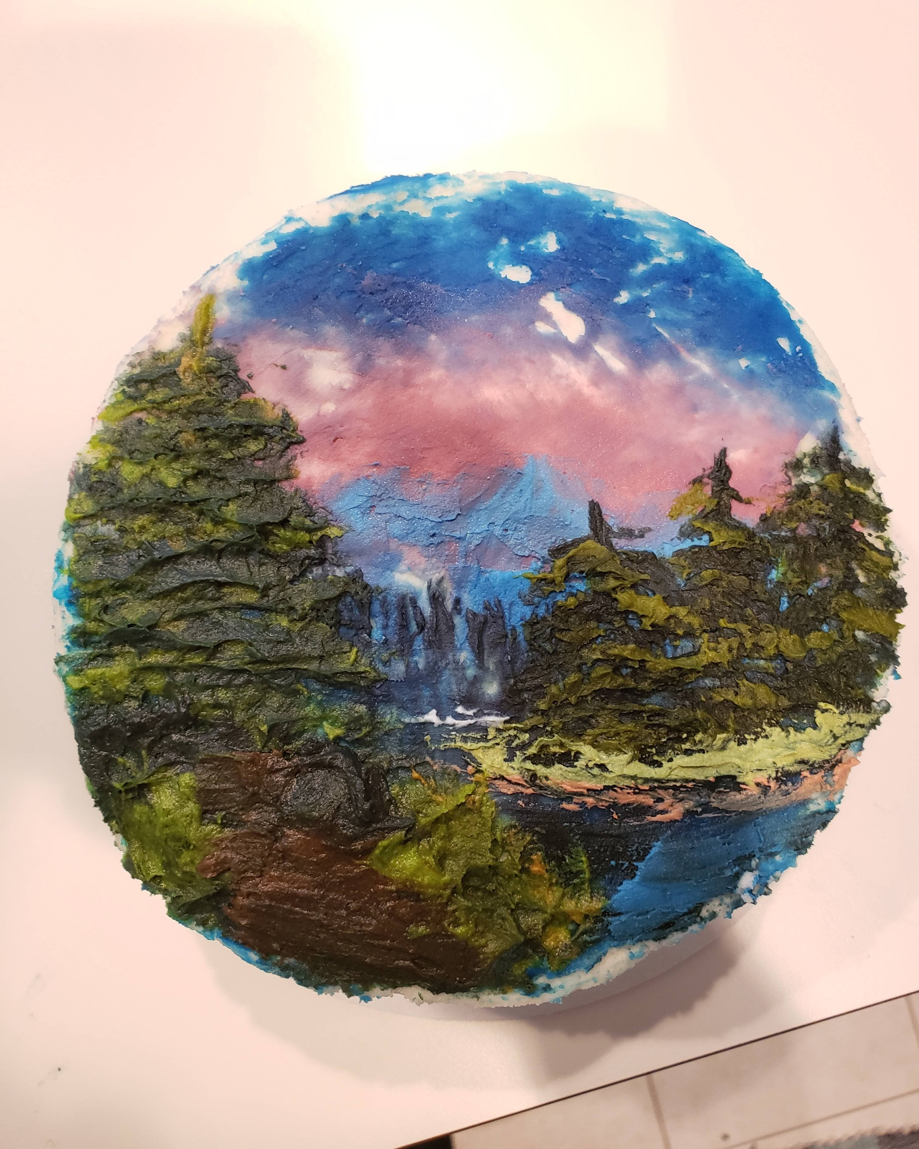 Decided to try a Bob Ross painting on a cake Baking